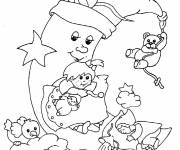 Coloring pages Moon and her little friends