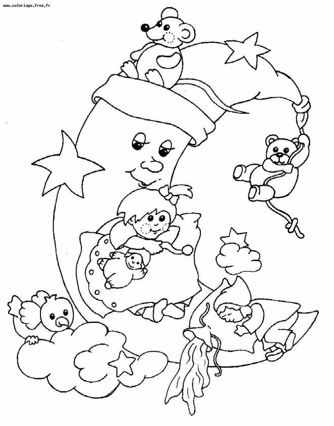 Free coloring and drawings Moon and her little friends Coloring page