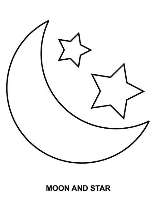 Free coloring and drawings Moon and Stars Coloring page