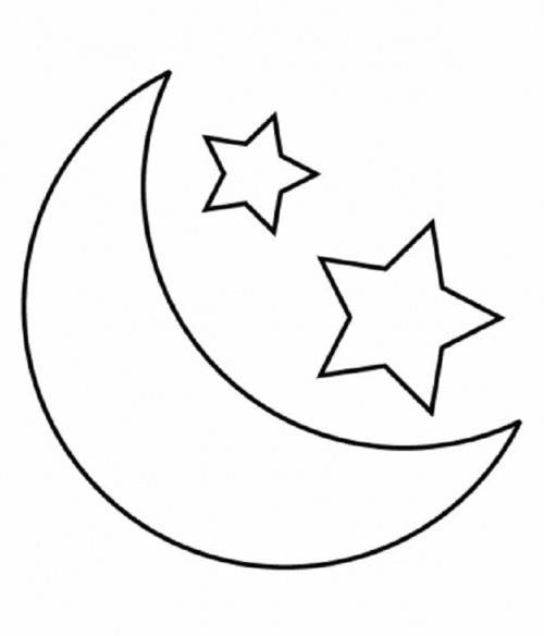Free coloring and drawings Moon and Stars for children Coloring page