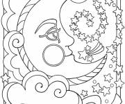Coloring pages Moon crescent and stars Mandala