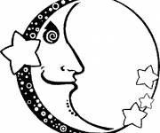 Coloring pages Moon in face