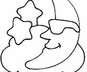 Coloring pages Moon over the Clouds