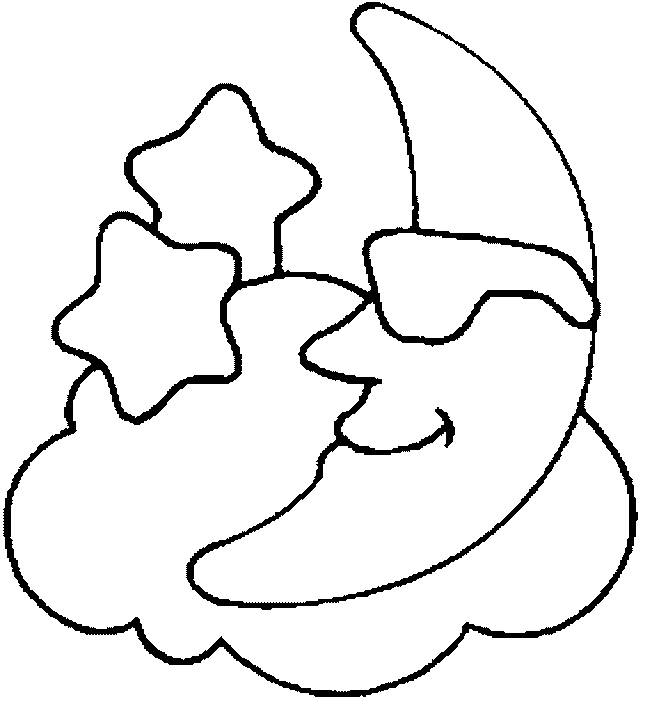 Free coloring and drawings Moon over the Clouds Coloring page
