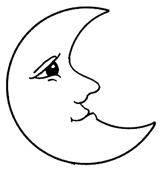Free coloring and drawings Moon with face Coloring page