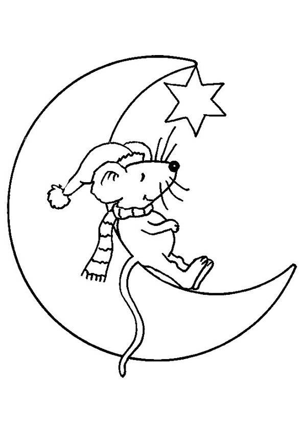 Free coloring and drawings Mouse on the Moon Coloring page