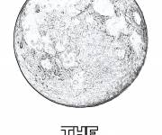 Coloring pages Realistic moon
