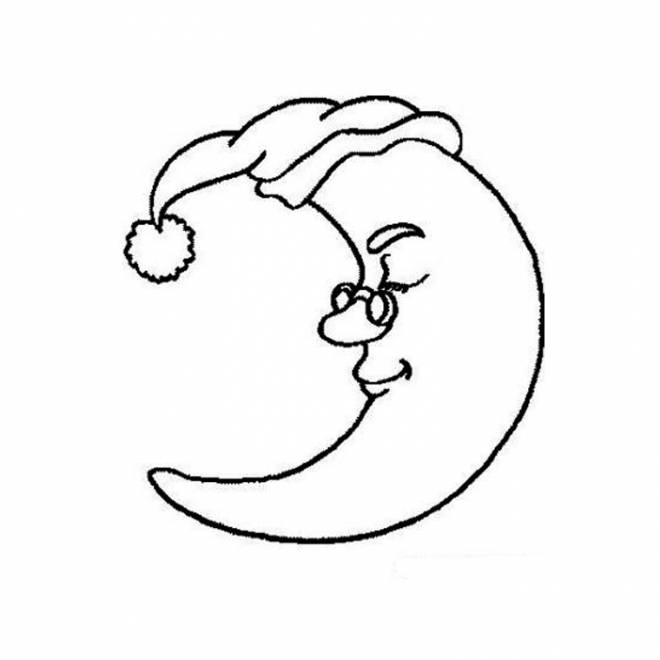 Free coloring and drawings Sleeping moon Coloring page