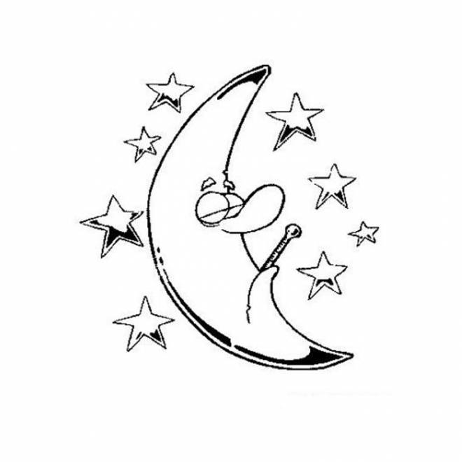 Free coloring and drawings Stars and moon Coloring page