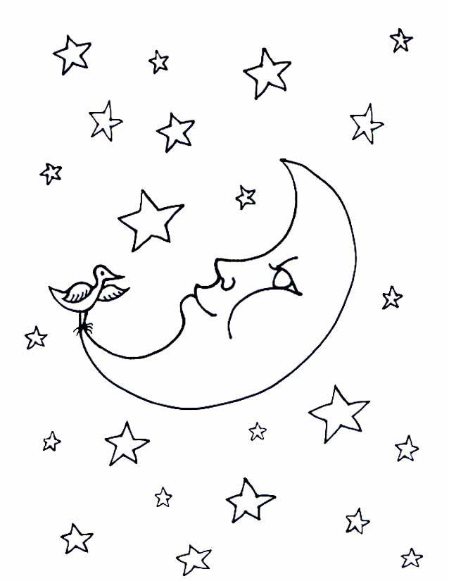 Free coloring and drawings The Crescent and The Bird Coloring page