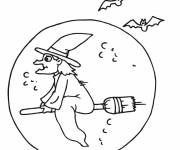Coloring pages Witch and Full Moon