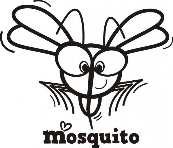 Free coloring and drawings Cartoon mosquito Coloring page