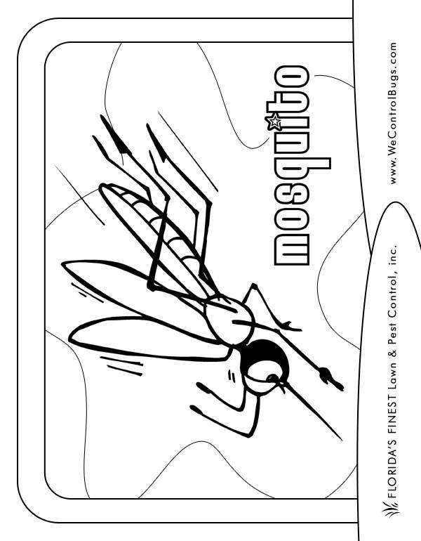 Free coloring and drawings Mosquito in attack Coloring page