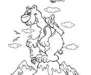 Coloring pages A big bear on the mountain