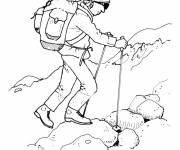 Coloring pages A climber on the mountain