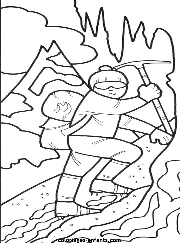 Free coloring and drawings A climber who climbs Coloring page