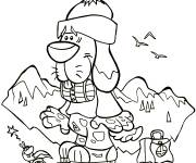 Coloring pages A funny dog in the Mountain