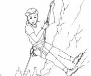 Coloring pages A girl has fun in the Mountain