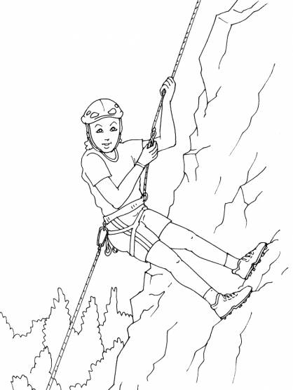 Free coloring and drawings A girl has fun in the Mountain Coloring page