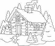 Coloring pages A house in the Mountain
