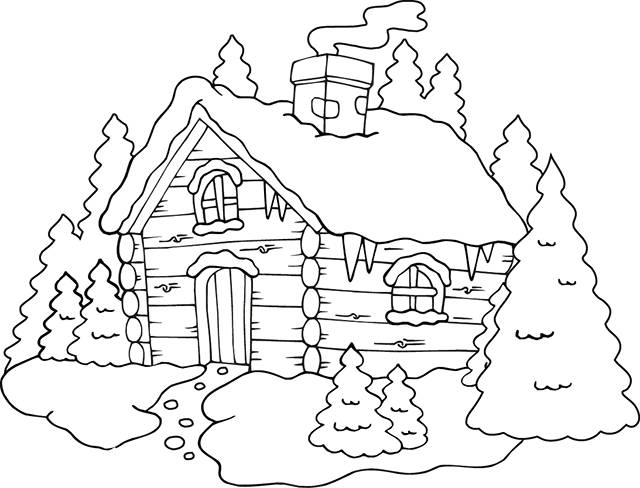Free coloring and drawings A house in the Mountain Coloring page