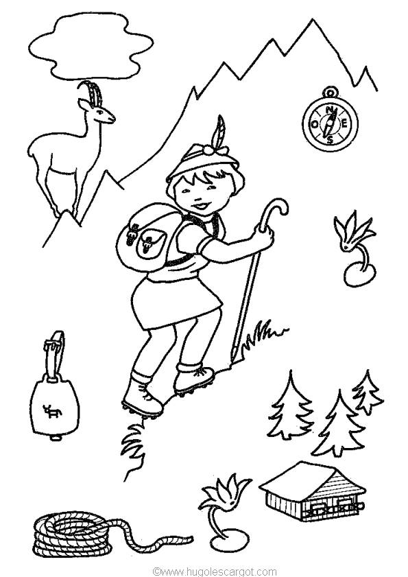 Free coloring and drawings A little boy in the Mountain Coloring page
