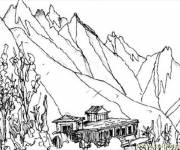 Coloring pages Beautiful mountain landscape