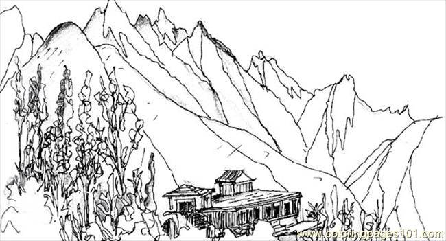 Free coloring and drawings Beautiful mountain landscape Coloring page