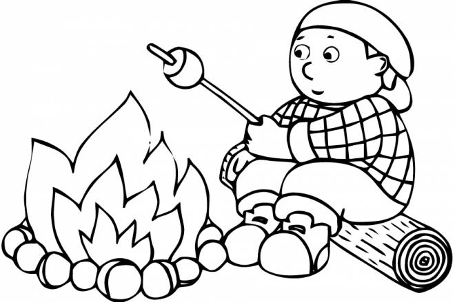 Free coloring and drawings Child Camping Coloring page