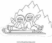 Coloring pages children having fun in the mountains
