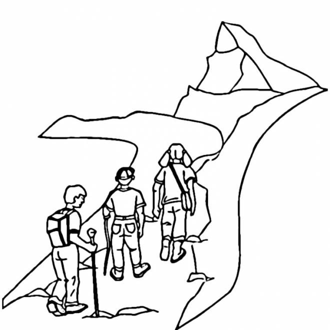 Free coloring and drawings Climbers Climb Mountain Coloring page