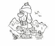 Free coloring and drawings Dog in the Mountain Coloring page