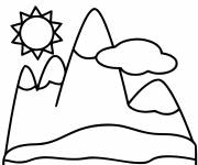 Free coloring and drawings Easy mountain Coloring page