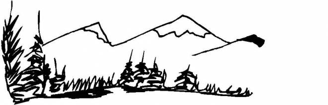 Free coloring and drawings Easy Mountain Landscape Coloring page