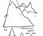 Coloring pages easy mountain range