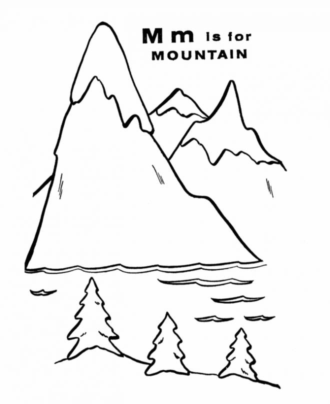 Free coloring and drawings easy mountain range Coloring page