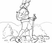 Coloring pages Girl and Camping in the Mountain