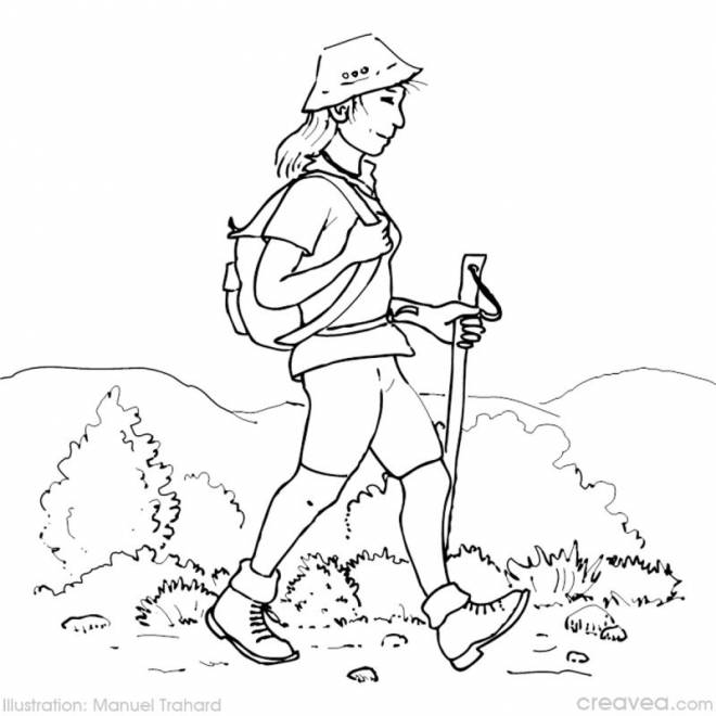 Free coloring and drawings Girl and Camping in the Mountain Coloring page