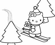 Coloring pages Hello Kitty en ski alpin