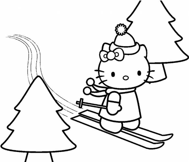 Free coloring and drawings Hello Kitty en ski alpin Coloring page
