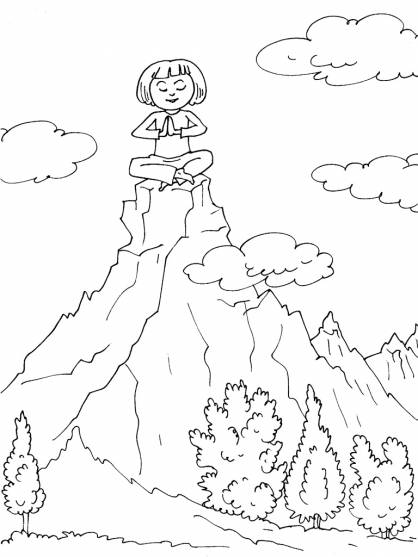 Free coloring and drawings Meditation on the Mountain Coloring page