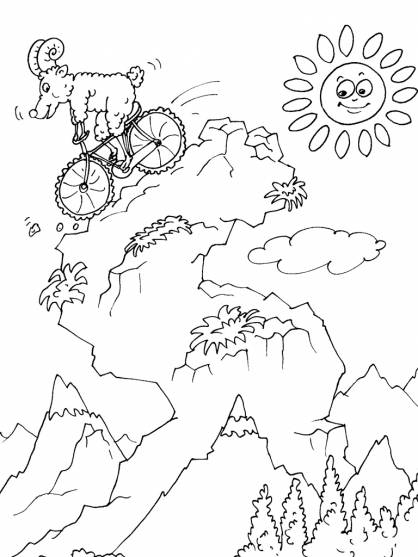 Free coloring and drawings Mouflon on bicycle Coloring page
