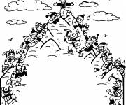 Free coloring and drawings Mountain and Climbers Coloring page
