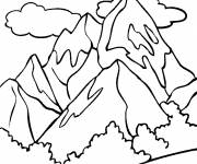 Coloring pages Mountain and clouds