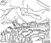 Coloring pages Mountain and forest