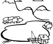 Free coloring and drawings Mountain and river landscape Coloring page