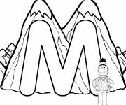 Coloring pages Mountain and the letter M