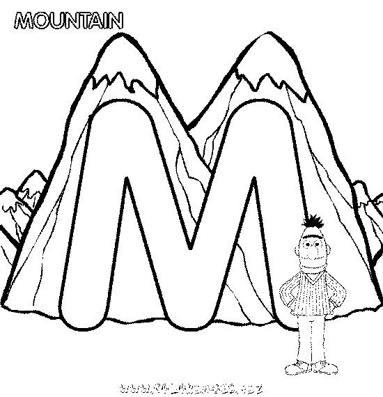 Free coloring and drawings Mountain and the letter M Coloring page