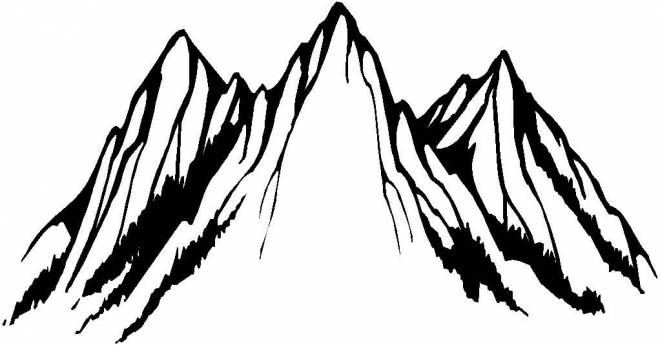 Free coloring and drawings Mountain in black Coloring page