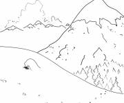 Free coloring and drawings Mountain in Winter Coloring page
